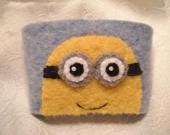 Two Eyed Minion Felted Wool Coffee Cozy