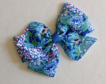 Blue Chrysanthemum Print Bow by Cheryl's Bowtique, lilly inspired, flower