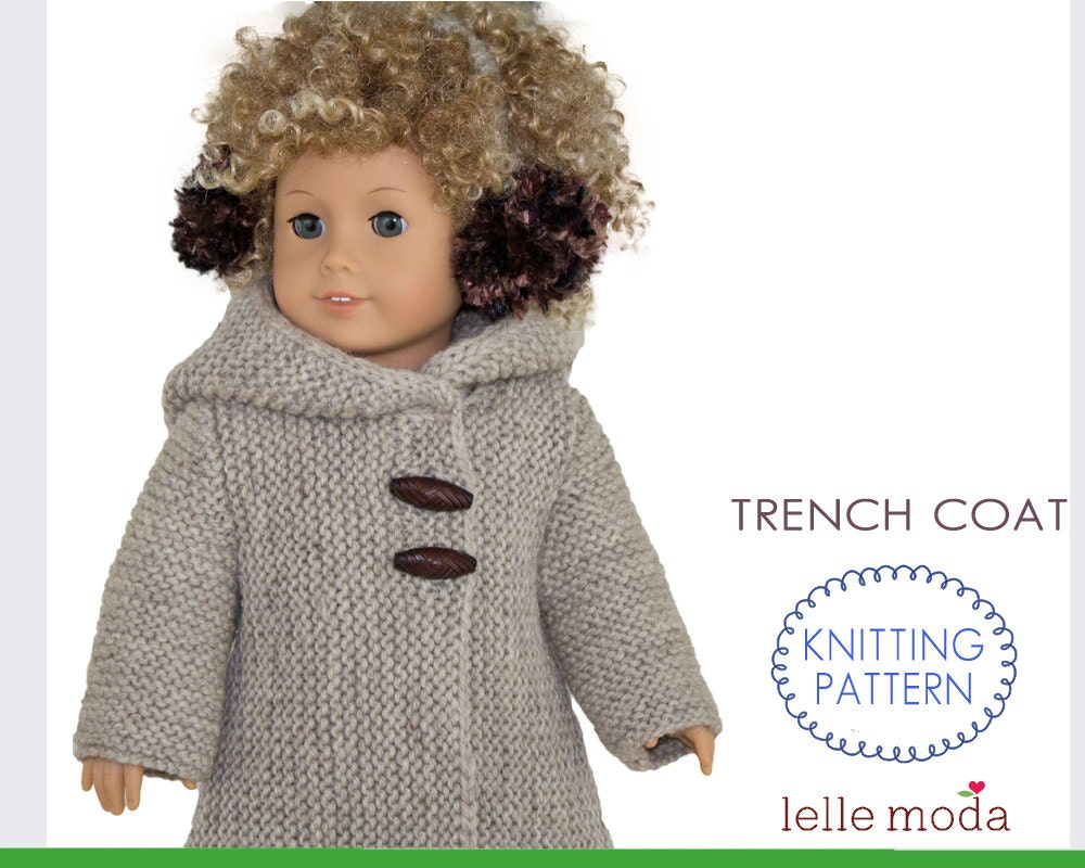 Knit Pattern Books For 18 Inch Doll Clothes : Doll Coat Pattern fits American Girl Dolls 18 inch Doll