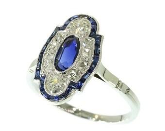 Summer Sale Elegant platinum Art Deco diamond sapphire engagement ring