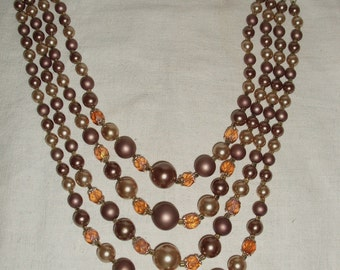 Vintage Four Strand Beaded Necklace