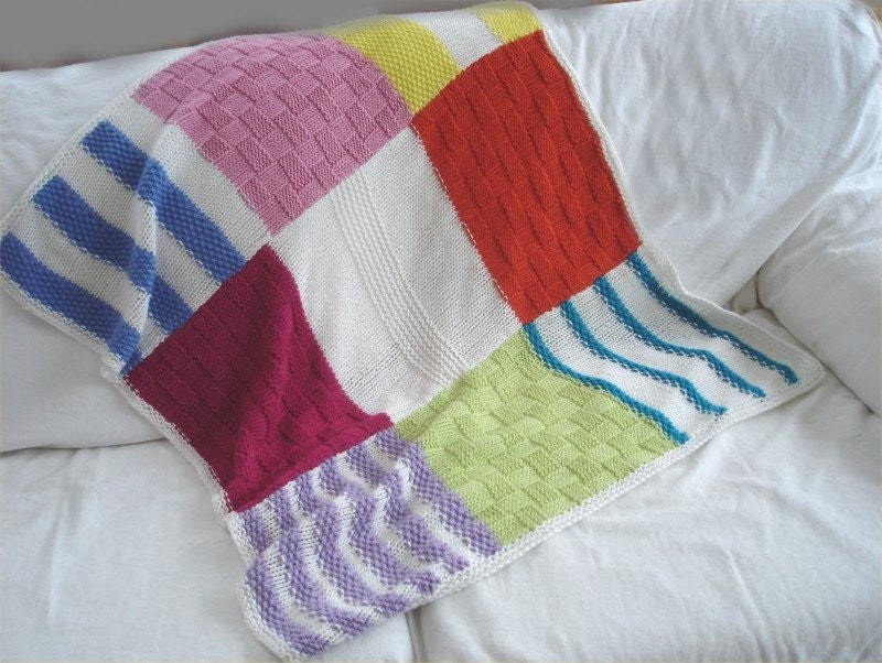 Baby blanket Knitting PATTERN Colorblock Baby by theknittingniche