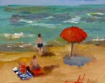 At the Beach original daily oil painting figurative seascape Art by Delilah