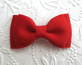 "Red Baby Christmas Hair Bow, Toddler, Girls 3"" Simple Tuxedo Style Boutique Hair Bow Clip"