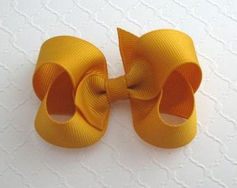 "3"" Mustard Gold Hair Bow ~ Thanksgiving Hair Bow ~ Baby / Toddler Hair Bows ~ Classic Hair Bows"