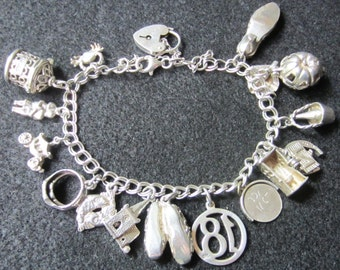 SALE Vintage Sterling Silver Keepsake Collectible Charm Bracelet with 15 Charms