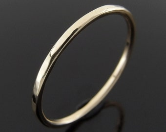 Hammered 14k Gold Stack Ring, Yellow Gold, Rose Gold, White Gold, Hammered 14k Gold Ring, 14k Gold Stacking Ring, 1.2 mm
