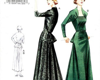 Sz 12/14/16/18 Vogue Original Design Pattern V8768 - Misses' Raised Neckline One-Piece Dress with Back Peplum - 50's Dress Pattern