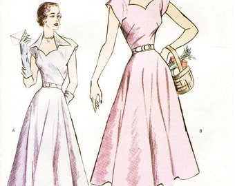 Butterick Dress Pattern 6522 - Misses' Fit and Flare, Cap Sleeve Dress in Two Variations - Butterick Retro 1950 Vintage Dress - Sz 12/14/16