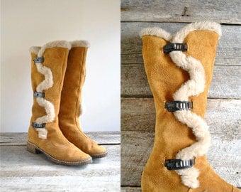 Suede Fur Boots Size 8  //  70s Suede Boots Sz 38.5  //  SHEPARDS PIE