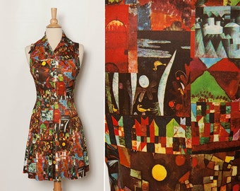 vintage 1970s mini dress abstract print