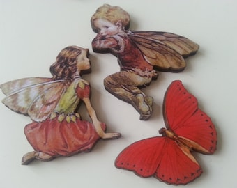 Set of 3, fairy, butterfly, red, wood, brooch, brooches, woodland, by NewellsJewels on etsy