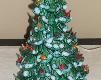 Vintage Small Green Ceramic Christmas Tree-w/ Multi-Colored Lights-Snow Capped