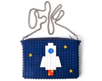 Dark blue crossbody purse with rocket made with LEGO® bricks FREE SHIPPING handbag trending fashion gift party wedding retro