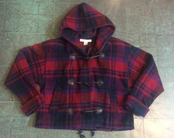 The limited vintage cropped plaid wool coat // size medium
