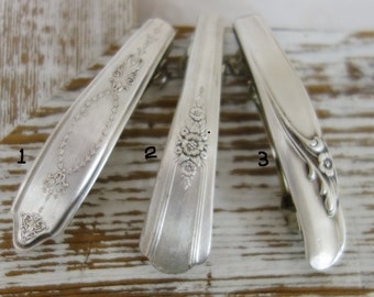 Barrette made from Vintage silver plate spoon handle flatware