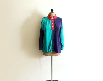 vintage shirt 1980's blouse colorblock primary colors polo preppy clothing size large l