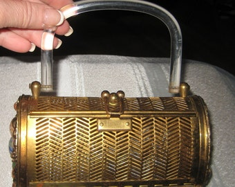 Rock A Billy 1950s Dorset Rex Jeweled Handbag Purse Metal Frame Lucite Handle