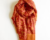 Red and Orange Pure Silk Scarf Sari Scarf | Floral Design | Earthy | Soft Elegant | Unique gift for her, for Mom| Thanksgiving | Christmas