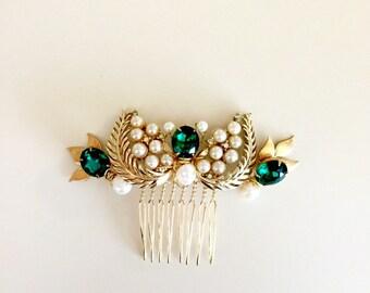 Emerald Gold and Pearls Bridal Hair comb vintage earrings  headpiece Handmade weddings OOAK