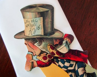 vintage blank card - Alice In Wonderland, The Mad Hatter