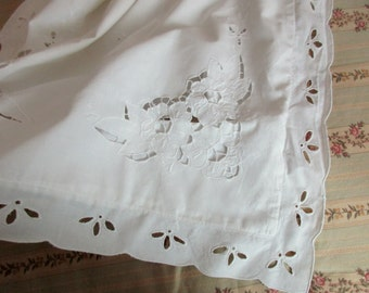 vintage white PILLOW SHAM - large, king, cotton, cut out lace, embroidery
