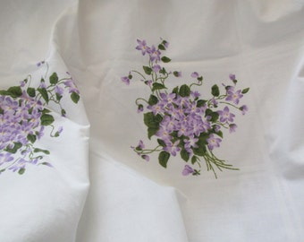 cotton percale full fitted sheet - floral, violets, purple, double, Cannon