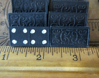 miniature vintage wood black dominoes - tiny, 8 pieces, game pieces, Japan