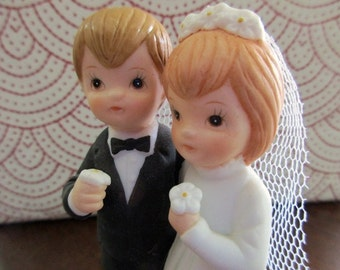 porcelain CAKE TOPPER - love, wedding, couple, bride and groom