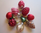 9 miniature vintage feather tree ornaments - figural ornaments - mercury glass - food, fruit and more