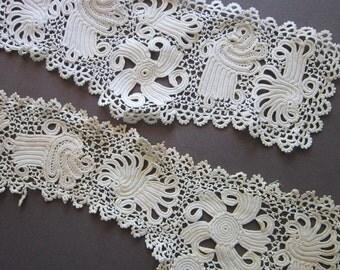 antique irish crochet lace pieces - hand done irish crochet insets