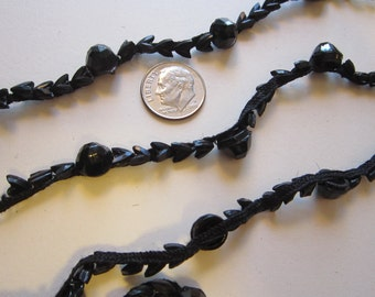 2.875 yards antique beaded trim - black glass beads on narrow trim - arrow points, faceted - as is, Victorian mourning, jet black trim