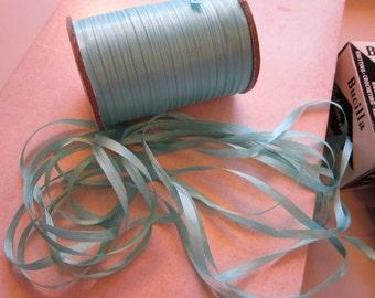 vintage AQUA ribbon - 10 yards x 3/16 inch - acetate taffeta fusedge acetate - Bucilla Ruban d'Art
