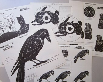 5 vintage WINCHESTER paper targets - crow, jack rabbit, cottontail, and woodchuck - Winchester Western