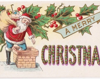 A Merry Christmas Antique Postcard - Christmas, Christmas Postcards, Christmas Cards, Santa, Santa Claus, Santa Postcards, Paper, Ephemera