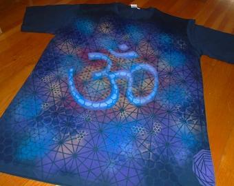 L OM Sacred Geometry T-Shirt Hand Painted Organic Chakra Tee w/ OHM Vibration, Flower of Life, Honeycomb