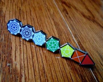 Chakra PIN - Sacred Geometry Chakra Hat Pin  / Lapel Pin