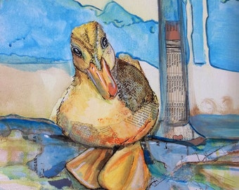 Barn Yard Bath Time Ducky Original acrylic and Map collage painting