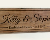 Distressed Carved Name Sign,  Rustic Barn Wedding Sign, Personalized Wedding Gift, Last Name Wood Sign,