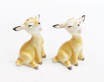 Norcrest Japan Happy Fawn Salt and Pepper Shakers Porcelain Woodland Deer Kitchen