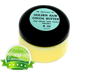 4 OZ GOLDEN Cocoa Butter  Raw Pure Organic with Rich Chocolate Aroma