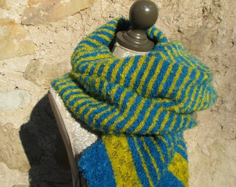 Blanket Scarf, Oversized Shawl Wrap- Handwoven Yellow and Blue Loop Mohair wool blanket scarf, Overzized blanket scarf, Plaid blanket scarf