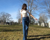 70s NOS bell bottom jeans - deadstock indigo denim bellbottoms - size 30
