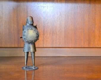 vintage mid century brushed tin knight figurine / metal figurine / medieval home decor