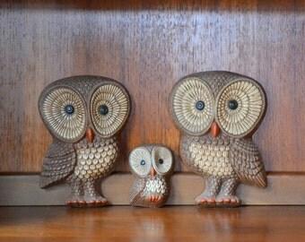 vintage owl wall hangings