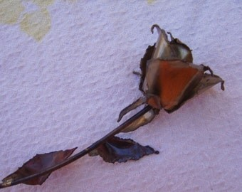 Vintage Brass Copper Metal Hand Made Single Rose