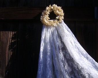 SALE-Antique Wax Flower Crown Bridal Veil