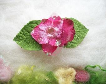 Mini Flower Hair Barette, Hydrangea Blossom Flower Buds Green Leaves Sparkly Flower Fairy Hair Clip Accessory Handmade