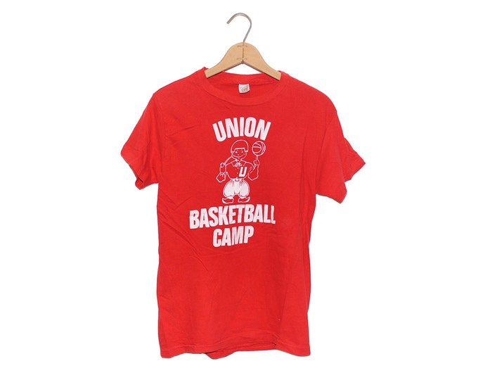 Vintage 1970's Union Basketball Camp 100% Cotton Hanes T-shirt (OS-TS-35)
