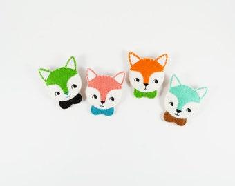 50% SALE Fox Brooch /  Animal Brooch / Fox Felt Brooch / Fantastic Mr. Fox / Fox Pin / Felt Fox Brooch / Fox with Peter Pan Collar Pin